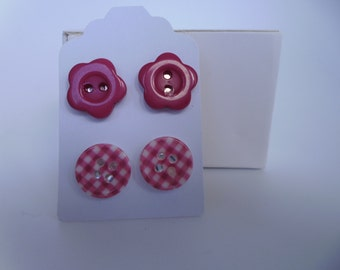 2 Pairs Button Earrings Silver Plated Red
