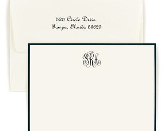 Set of 50 Monogrammed Bordered Flat Note Cards