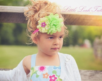 Chevron Flower Headband, Neon Hot Pink Lime Green and Yellow Headband with Rhinestone Flower, Girls Headband, Infant Headband, Baby Headband