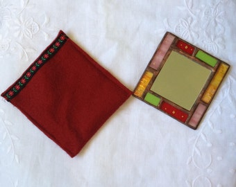 POCKET MIRROR Light Green,Red,Pink and Yellow Color with Special Handcrafted Case.Stained Glass Hand Mirror,Sweet Girl/Women's Gift