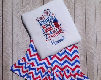 Fourth of July Applique set-I Sparkle so much I could Be a Firework applique shirt and ruffle shorts-Ruffle shorts set-applique shirt