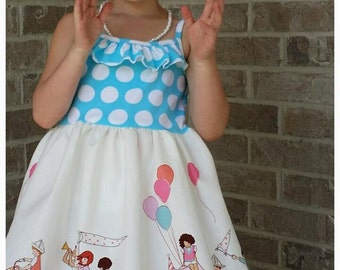 Girls Birthday Party dress - Toddler Party Dress - Girls twirl Dress - Babys First Birthday Blue Dress - Toddler Parade Dress - Photo Dress
