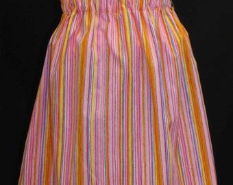 Girls Skirt, Gathered Waist, Multi-Coloured Stripes, Size 6-7