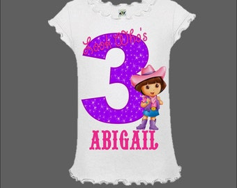 Dora the Explorer Birthday Shirt - Dora Cowgirl Shirt