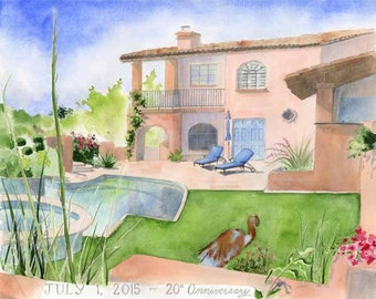 Custom House Painting - House Watercolor