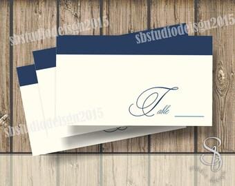 DIY vintage navy Wedding Place Cards