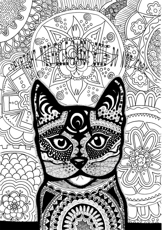 Kitty Cat Mandala Instant Download Colouring Page