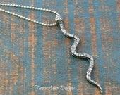 Silver Crystal Snake Necklace, Snake Jewelry, Statement Necklace, Long Necklace
