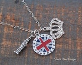 London Necklace, Long British Charm Necklace, Union Jack Big Ben Crown, London Jewelry