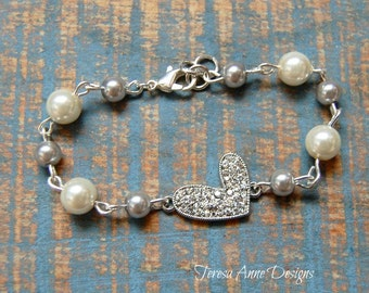 Crystal Heart and Pearl Bead Bracelet