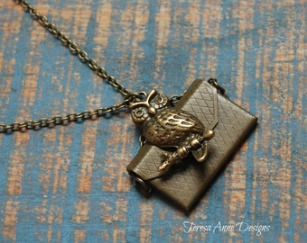 Owl Messenger Necklace with Custom Message