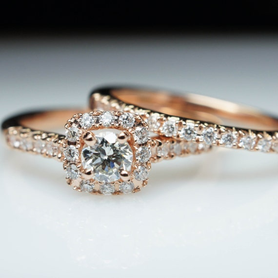 Square Halo Diamond Rose Gold Engagement Ring & Wedding