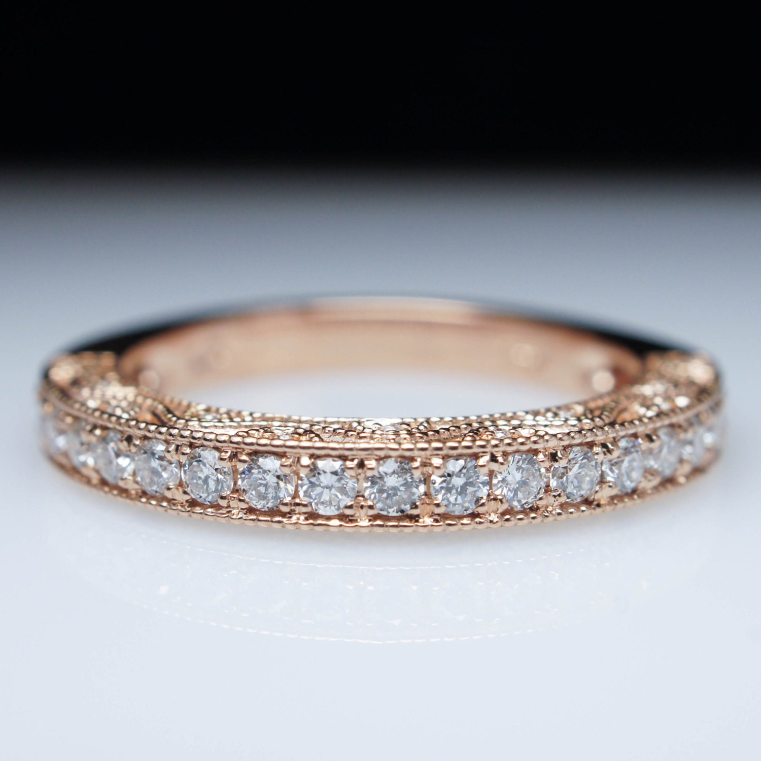 Intricate Vintage Style 50ctw Diamond Wedding Band Ring