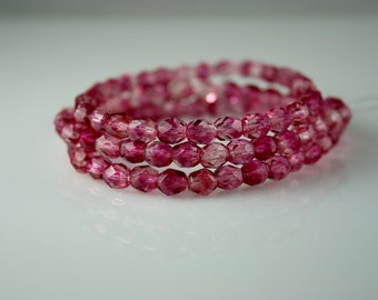 6mm Czech glass  fire polished faceted round bead fuscia   (30)