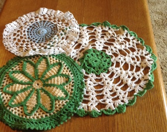 Vintage Crocheted Set of Three Doilies
