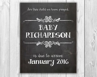 Chalkboard Pregnancy Announcement Sign   |  Digital File