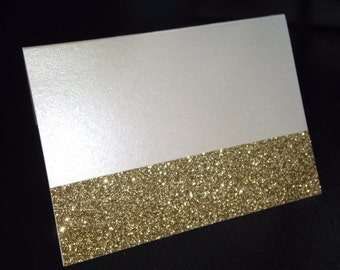 Cream Shimmer Blank Folded Placecard with Gold Glitter Accent