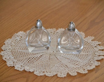 Set of Sterling Silver toped antique glass salt and pepper shakers