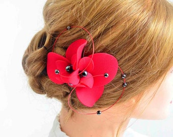 Red fascinator Red and black hair piece Wedding headpiece Hair flower Hair clip Red and black wedding Bridal hair piece