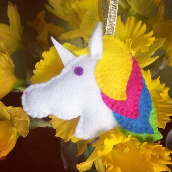 Decorazione Del Feltro Arcobaleno Unicorno Ornamento