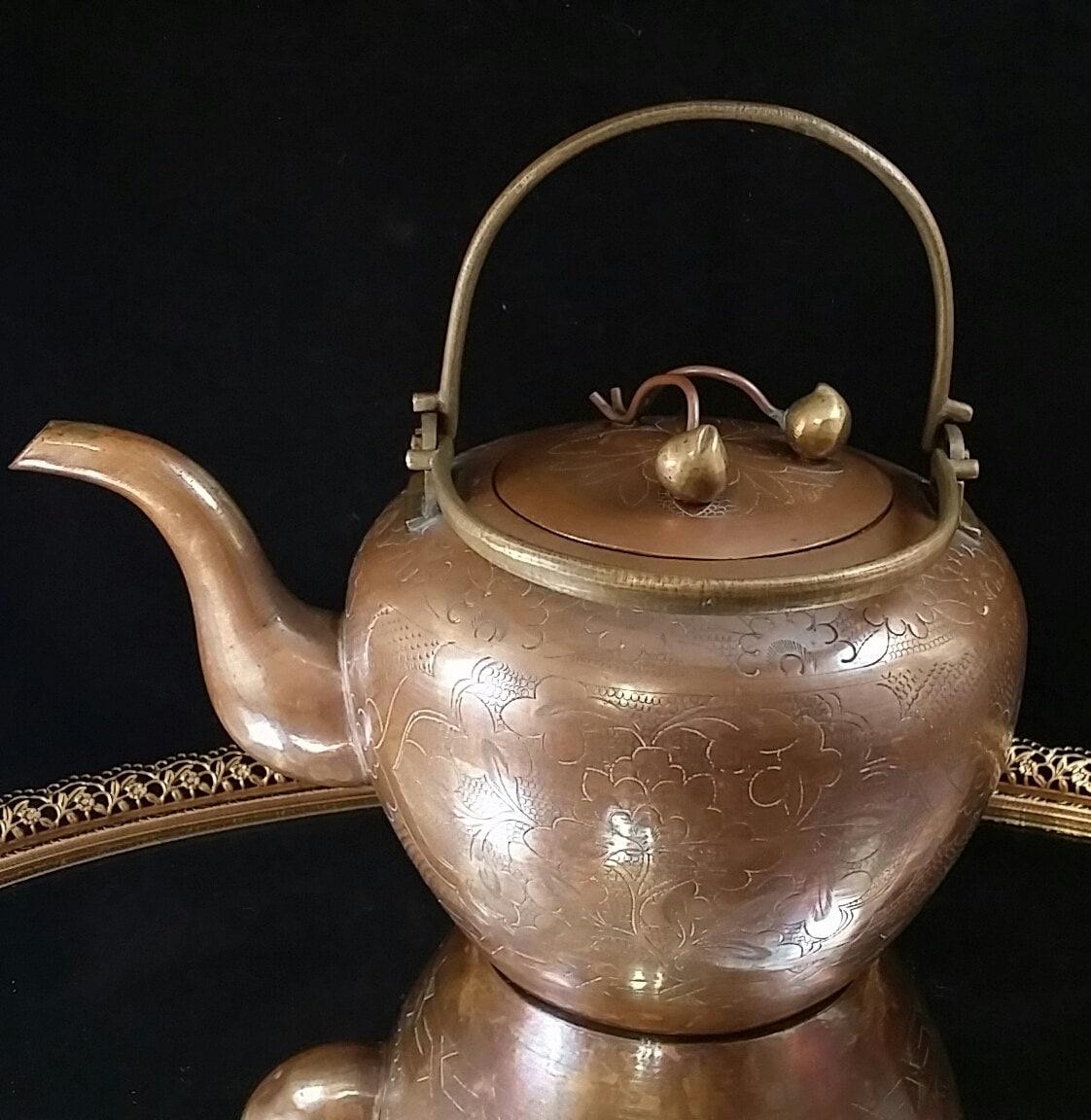 antique copper tea pot Antiques US