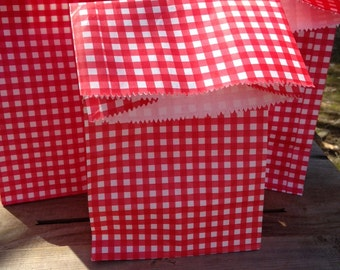 Gingham picnic lunch bags set of 16  party supplies favorsbags, cookouts picnics birthday parties