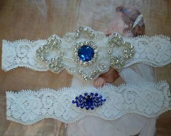 SALE - Wedding Garter, Bridal Garter, Garter Set - Something Blue Crystal Rhinestone on a White Lace - Style G2110