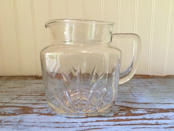 Vintage Federal Pressed Glass Square Juice Milk Water Pitcher