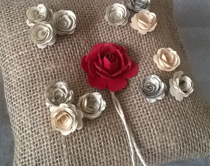 Book Page Roses, Red Wedding, Hessian Ring Bearer Pillow , Book Page Flower Ring Cushion, Made to order