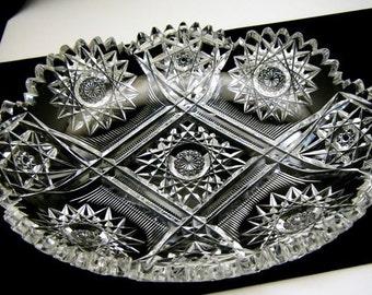American Brilliant Cut Glass Relish Dish Beautiful Antique Crystal