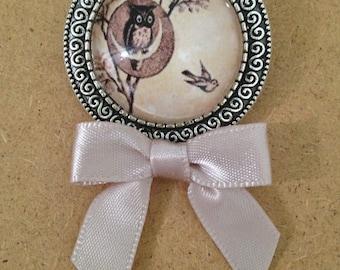 Owl & Swallow Brooch  - Handmade Unique