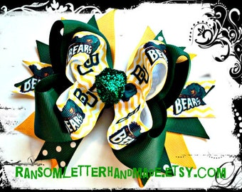 Baylor Bow Yellow and Green Baylor Bears Green and Gold Baylor Ribbon
