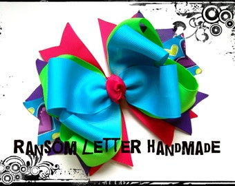 Turquoise Blue Green Hair Bows Heart Ribbon Large Hair Bow Turquoise Dresses Costumes Pink Hearts