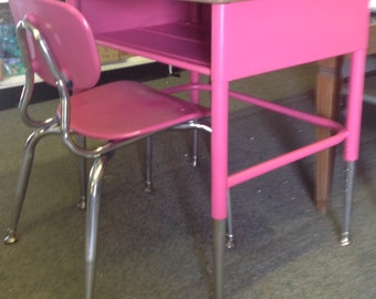Vintage, retro upcycled childs size school desk and chair - SPECIAL ORDER