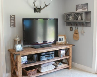 Rustic TV Console - Solid wood TV console, entry table, sofa table, entertainment