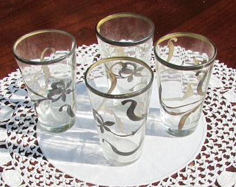 Hand Painted Victorian Apertif Cordial Shot Two Ounce Glasses - Set of Four