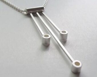 Sabine Circle Necklace - Modern Geometric Necklace, Modernist Necklace, Modern Geometric Jewelry, Sterling Silver Geometric Bar Necklace