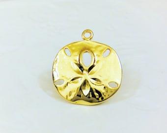 Vermeil,18k gold over 925 sterling silver sand dollar charm, vermeil sand dollar charm,Sand dollar