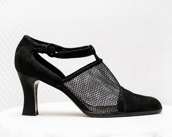 Black Vintage Heels / Net Cap Toe Heels / Vintage Suede Shoes / Italian Leather Heels