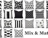 Black and White Pillow Covers - Black Pillows - White Pillows - Pillow Sham - Pillow Case - Accent Pillow - Toss Pillow - Throw Pillows