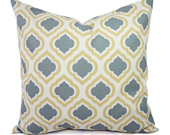 Two Yellow and Grey Pillow Covers - Saffron Yellow Grey and White - Yellow and Grey Pillow - Decorative Pillows - Yellow Pillows