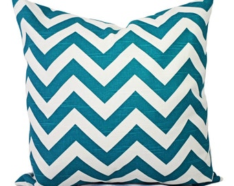 Turquoise Pillow Covers - Two Turquoise Chevron Pillow Covers - Decorative Throw Pillow Chevron Pillow Cushion Cover Accent Pillow