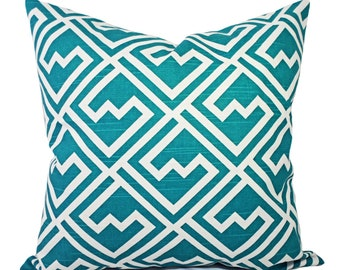 Turquoise Couch Pillow Covers - Two Deep Turquoise Blue White Throw Pillow Covers - Throw Pillow - Couch Pillow Cover - Pillow Cover 18 x 18