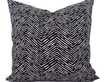 Two Throw Pillow Covers - Black and White Chevron Print - 12 x 16 Pillow - 14 x 14 Pillow - 16x16 Pillow - 26x26 Pillows - Black Pillow Sham