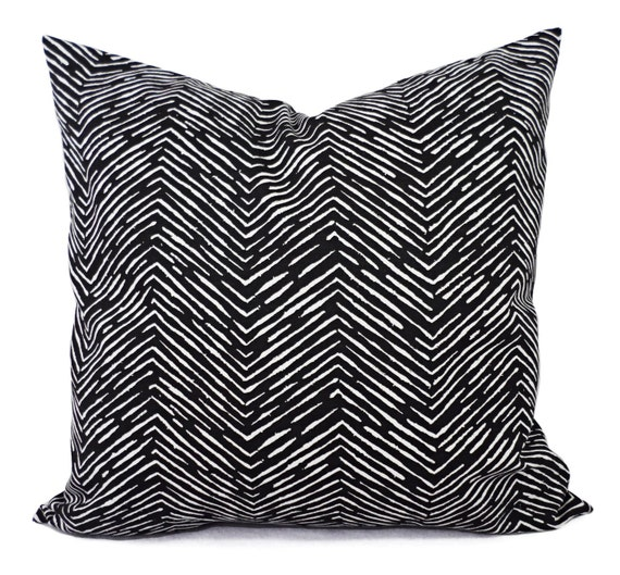 Two Throw Pillow Covers Black and White Chevron Print 12 x