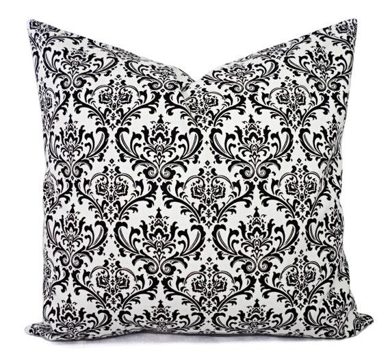 Two Black Pillow Covers Decorative Pillow Sham Damask