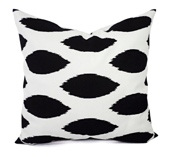 Two Black and White Ikat Decorative Throw Pillow Covers