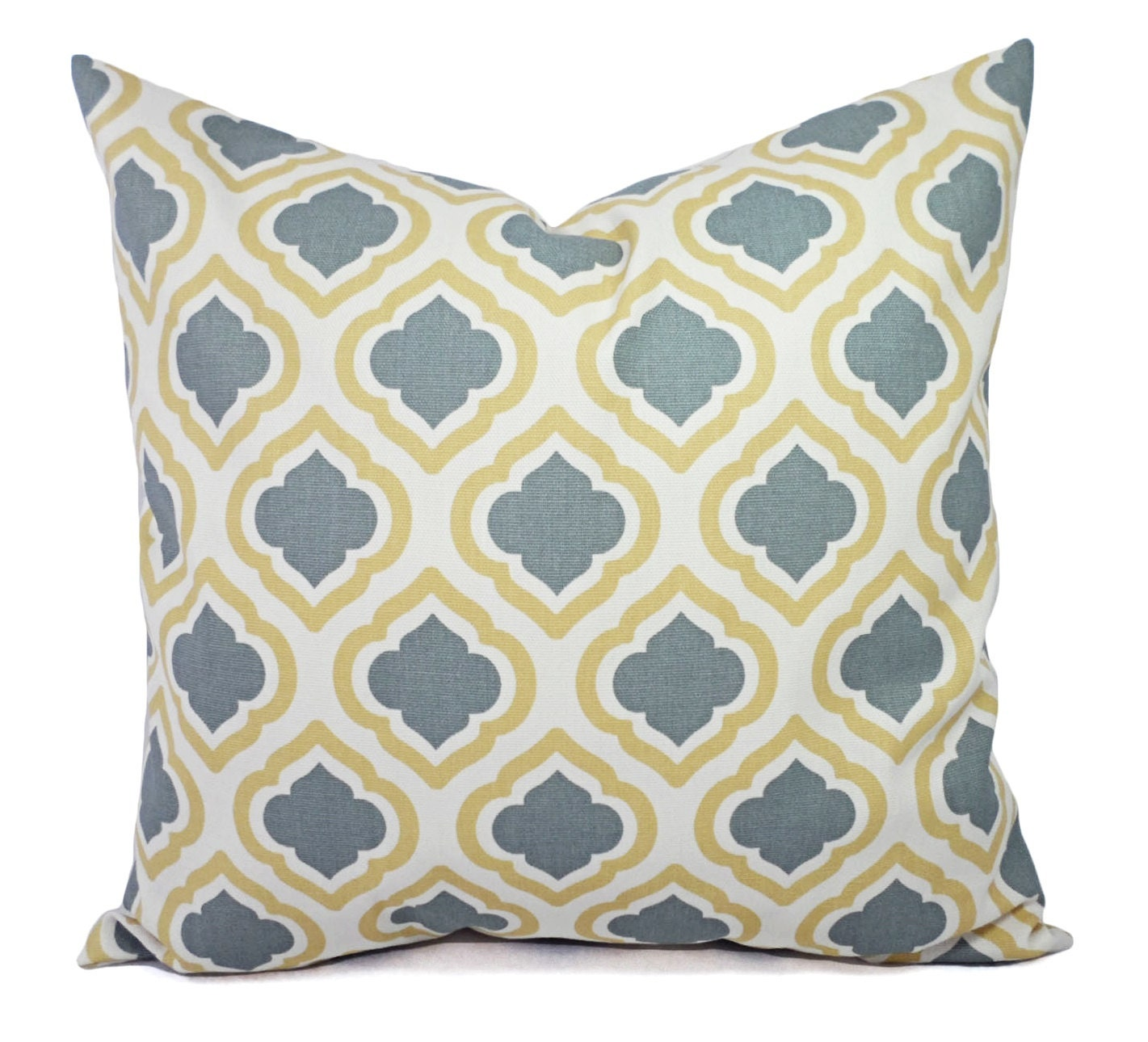 Two Yellow and Grey Pillow Covers Saffron Yellow Grey and