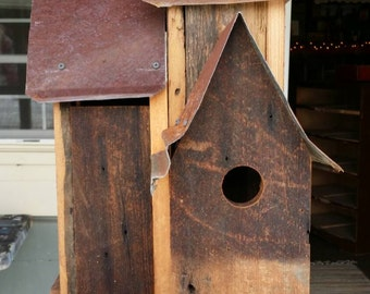 6 Hole Birdhouse from reclaimed wood and tin
