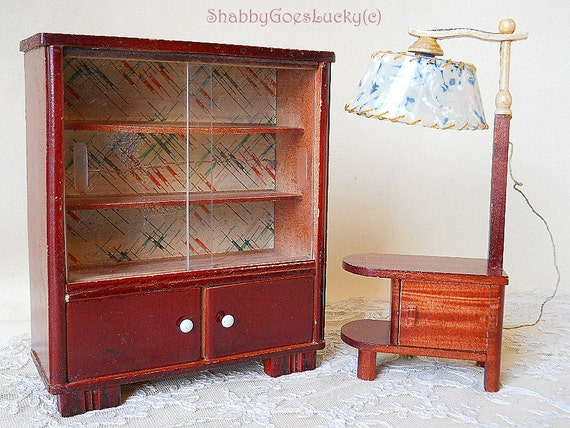 1950 S Wood Furniture ~ Old s dollhouse furniture wooden glass cabinet with